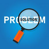 Problem Solution Searching Solutions By Solving Problems Concept. poster