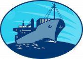 Container Cargo Freighter Ship Retro