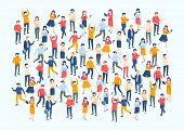 Isometric People Crowd. Large People Group, Different Male And Female Characters, Business Audience  poster