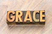 grace word abstract in vintage letterpress wood type printing blocks poster
