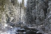 Mountain River Winter Landscape
