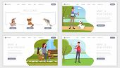 Pet Shelter Landing Pages Set. Make New Friend, Find Canine Companion Motto, Slogan For Abandoned An poster