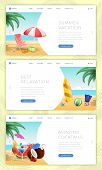 Summer Vacation Vector Landing Pages Set. Calm Seaside Rest, Active Water Sports, Outdoor Activities poster