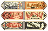 Halloween Events Retro Signs Collection. Halloween Party, Storyteller, Horror Movie Show, Pumpkins F poster