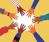 Diverse Young People Hands On Isolated Background. Teenager Hand Group Round Celebration Or Friend C poster