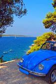 foto of beetle car  - Vintage car parked - JPG