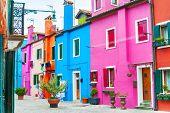 Colorful Architecture In Burano Island, Venice, Italy. Famous Travel Destination poster
