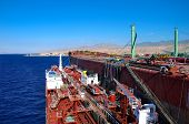 chemical tanker during unloading operation ship to ship