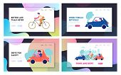 City Traffic Website Landing Page Set, People Driving Different Types Of Transport As Cars And Bicyc poster