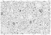 Doodle Science Vector Illustration . Biology And Biotechnology Set. Hand Sketches On The Theme Of Zo poster