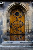Old Wooden Door With Forged Pattern In Gothic Style. Prague Castle - Gothic Architecture Of St. Vitu poster