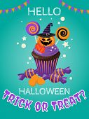 Halloween Background With Halloween Cupcake And Hello Halloween And Trick Or Treat? Text. Invitation poster
