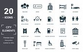 City Elements Icon Set. Contain Filled Flat Disabled Accessibility, Traffic Light, Bicycle Parking,  poster