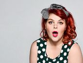 Beautiful Style Portrait Of A Full Fat Woman Plus Size In Retro Dress And Makeup, Polka Dot Dress, S poster