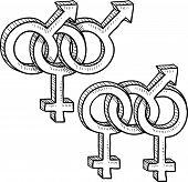 Menage a trois gender symbols