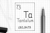 The Periodic Table Of Elements. Handwriting Chemical Element Tantalum Ta With Black Pen, Test Tube A poster