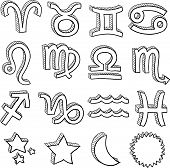 Horoscope sign sketch collection