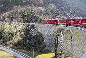 Alps Train On Viaduct