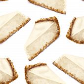 Vector Seamless Pattern Piece Of Cheesecake Cake With Airy And Tender, Delicate Creamy-curd Cheese.  poster