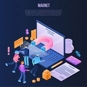 Magnet Attraction Concept Background. Isometric Illustration Of Magnet Attraction Concept Background poster
