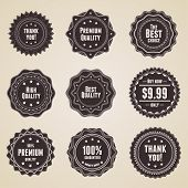 Set of 9 retro detailed premium quality labels