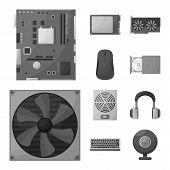 Vector Design Of Desktop And Technology Symbol. Collection Of Desktop And Device Stock Symbol For We poster
