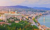 Budapest, Hungary. Beautiful Aerial Panoramic Skyline View Of Historic Buda Castle Royal Palace And  poster