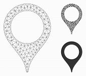Mesh Map Marker Model With Triangle Mosaic Icon. Wire Carcass Polygonal Mesh Of Map Marker. Vector M poster