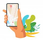Navigation Mobile App Vector Illustration. Hand Holding Cell Phone With Navigation System. Urban Map poster