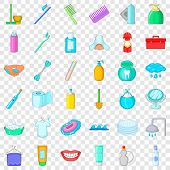 Hygiene Icons Set. Cartoon Style Of 36 Hygiene Vector Icons For Web For Any Design poster