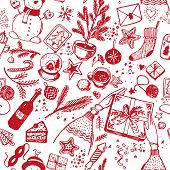 Seamless Christmas Pattern Of Red Icons With Line On A White Background. New Year Sketch Drawing For poster