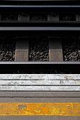 Platform and railway track at London Train station