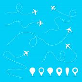 Vector Plane Line Path. Airplane Directional Pathway, Fly Direction And Pins Vector Symbols. Illustr poster
