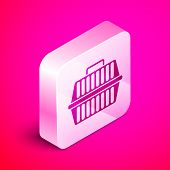 Isometric Pet Carry Case Icon Isolated On Pink Background. Carrier For Animals, Dog And Cat. Contain poster