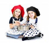 Chef y cocinar con la olla