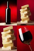 image of caw  - a wine glass with red wine and dark wine bottle and yellow caw cheese - JPG