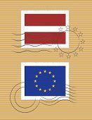 Latvia And Eu - Stamps With Flag