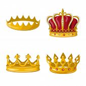 Isolated Object Of Monarchy And Gold Symbol. Collection Of Monarchy And Heraldic Vector Icon For Sto poster