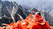 Red Chinese Ribbons Placed On The Top Of North Peak - One Of Five Main Peaks Belonging To Sacred Tao poster