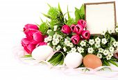 Banner add with Easter eggs and spring flowers