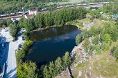 Aerial View Of Quarry. Dive Site. Famous Location For Fresh Water Divers And Leisure Attraction. Qua poster