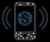Glossy Mesh Payment Phone Ring With Lightspot Effect. Abstract Illuminated Model Of Payment Phone Ri poster