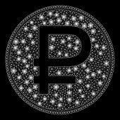 Glossy Mesh Rouble Coin With Sparkle Effect. Abstract Illuminated Model Of Rouble Coin Icon. Shiny W poster