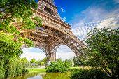 Paris Famous Landmarks. Eiffel Tower In Green Park, Paris France, Retro Toned poster