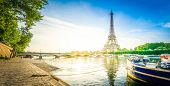 Paris Eiffel Tower Reflecting In River Seine At Sunrise In Paris, France. Web Banner Format. Eiffel  poster