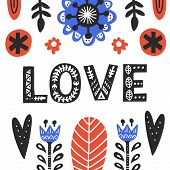 Romantic Flat Vector Folk Postcard Template. Love Stylized Ornate Typography. Scandinavian Style Flo poster