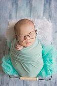 Adorable Newborn Baby Sleeping In Cozy Room. poster