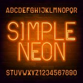 Simple Neon Alphabet Font. Orange Light Bulb Letters And Numbers On Brick Wall Background. Stock Vec poster