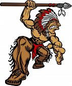 stock photo of indian chief  - Cartoon Graphic of a native American Indian Chief Mascot holding a spear - JPG