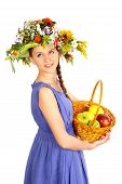 Eautiful Girl With Flowers And Apples